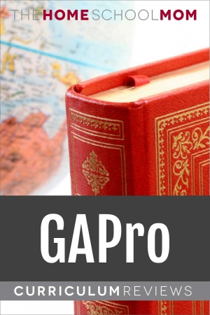 globe and book with text GAPro Curriculum Reviews - TheHomeSchoolMom.com