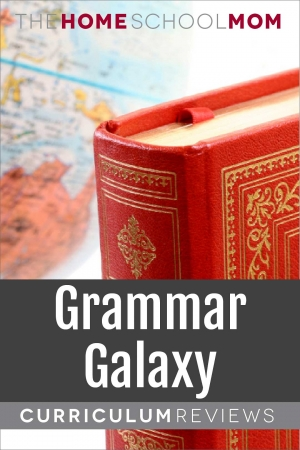 globe and book with text Grammar Galaxy Curriculum Reviews - TheHomeSchoolMom.com