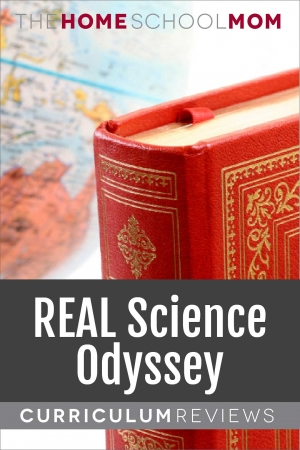 globe and book with text REAL Science Odyssey Curriculum Reviews - TheHomeSchoolMom.com