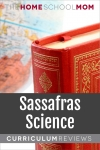 globe and book with text Sassafras Science Curriculum Reviews - TheHomeSchoolMom.com